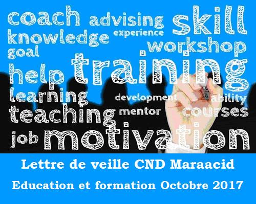 Lettre de veille CND Maraacid Education et formation Octobre 2017