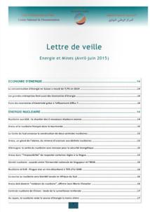 Lettre de veille Energie et mines Avril juin 2015
